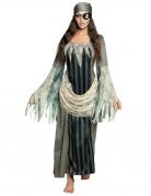 Geister-Piratin-Kostüm Piraten-Kostüm für Damen Halloween-Kostüm grau-weiss-schwarz