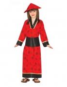 Eleganter Kimono Kostüm für Mädchen rot-schwarz-goldfarben