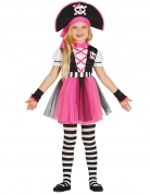Mädchen-Piraten-Kostüm Kinder-Karneval-Kostüm schwarz-weiss-pink