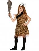 Steinzeitmensch-Kostüm für Mädchen Kinder-Steinzeitfrau-Kostüm braun-schwarz