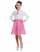 50er Jahre Pin-up Kostüm für Mädchen weiss-rosafarben