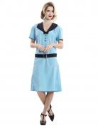 Schickes Sekretärinnen-Kostüm für Damen 1950er Jahre Retro blau-schwarz