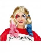 Harlekin-Perücke Zopf-Perücke blond-rosa-blau