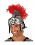 Römer-Helm Gladiatoren-Helm für Herren mit Feder Faschingsaccessoire silber-rot