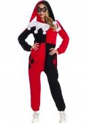Harley Quinn™-Kostüm für Damen Overall Halloweenkostüm rot-schwarz-weiss