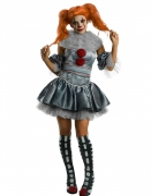 Pennywise™-Damenkostüm Es™ Halloween-Kostüm grau-rot