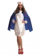 Krankenschwester-Kostüm für Damen Faschingskostüm weiss-blau
