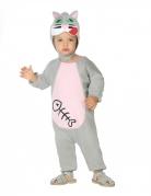 Katzen-Kostüm für Babys Faschingskostüm grau-rosa