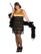 Charlston-Kostüm in Übergrösse 20er-Jahre-Kostüm in grosser Grösse schwarz-gold