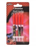 Ladybug™-Geburtstagskerzen Kuchendeko 4 Stück rot 9 cm