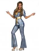 70er Jahre Disco-Kostüm für Damen Faschingskostüm glänzend blau-gold