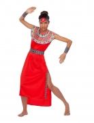 Massai-Kostüm für Damen rot-bunt