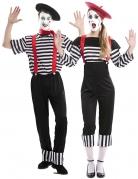 Klassisches Pantominen-Paarkostüm für Erwachsene schwarz-weiss-rot