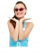 Retro-Brille 50er mit Glitzersteinchen rot