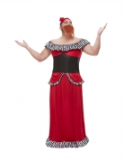 Bärtiges Frauen-Kostüm für Herren Zirkus-Kostüm Fasching rot