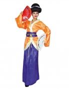 Geisha-Kostüm für Damen Faschingskostüm violett-orange