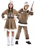 Inuit-Partnerkostüm Eskimo-Paarkostüm für Kinder braun-weiß
