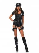 Sexy Polizei-Kostüm für Damen mit Mütze schwarz-silberfarben