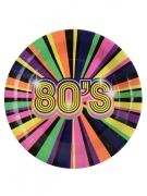80er Jahre Pappteller Partydeko 10 Stück bunt 22,5 cm