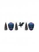 Boneshine-Partygirlande mit Tasseln, Schädeln und Raben Halloween-Deko blau-schwarz 3 m