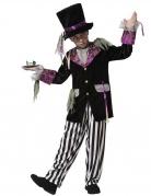 Dunkles Hutmacher-Kostüm für Jungen Halloween-Kostüm schwarz-weiss-violett