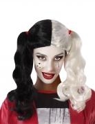 Zweifarbige Assassinen-Perücke Halloween-Accessoire schwarz-weiss