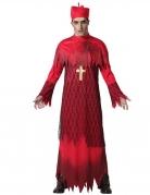 Zombie-Kardinal-Kostüm für Herren Halloweenkostüm rot-schwarz