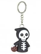 Sensenmann-Schlüsselanhänger mit Leuchteffekt Halloween-Accessoire schwarz-weiss