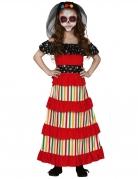 Mexikanisches Día de los Muertos-Kostüm für Mädchen Halloween-Kostüm rot-schwarz