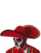 Mexikanischer Sombrero für Erwachsene Dia de los Muertos schwarz-rot-gold