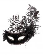 Venezianische Augenmaske für Damen mit Blumen Halloweenmaske schwarz