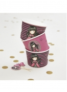 Ladybird Santoro™-Behälter Partydeko 8 Stück rosa-schwarz ml