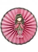 Ladybird Santoro™-Fächer Partydekoration 3 Stück rosa-schwarz