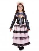 Süsses Tag der Toten-Kostüm für Mädchen Halloweenkostüm rosa-violett-schwarz