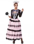 Día de los Muertos-Kostüm für Damen Halloween-Kostüm rosa-schwarz-violett