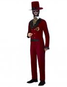 Tag der Toten-Bräutigam-Kostüm für Herren Halloweenkostüm rot-schwarz