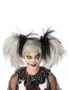 Halloween-Perücke für Kinder Clown weiss-schwarz