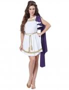 Göttin-Kostüm Griechische Toga für Damen weiß-gold-violett