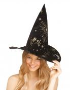 Hexenhut für Damen mit Einhorn-Aufdrucken Halloween-Accessoire schwarz-gold