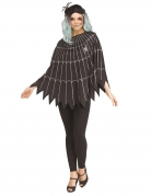 Spinnennetz-Poncho Halloween-Damenkostüm schwarz-silberfarben
