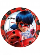 Ladybug™-Teller Kindergeburtstag-Partydeko 8 Stück schwarz-rot 23 cm