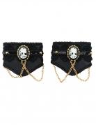 Gothic-Manschetten mit Kamee Halloween-Accessoire schwarz-gold