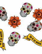 Dia de los Muertos-Tischkonfetti aus Holz 24-teilig bunt