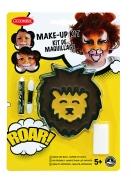 Löwe-Schminkset für Kinder mit Applikator und Schwamm Faschingsschminke braun-gelb