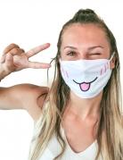 Katzen-Gesichtsmaske Mund-Nasen-Maske Accessoire weiss-rosa