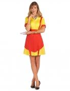 Kellnerin-Damenkostüm USA Diner rot-gelb