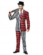 Mr. Twisted Circus-Kostüm für Herren Opposuits™ Faschingskostüm schwarz-weiss-rot