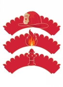 Feuerwehr Cupcake-Förmchen 6 Stück rot