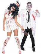 Mörderische Zombie-Doktoren Halloween-Paarkostüm für Erwachsene weiß-rot-schwarz