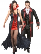 Gotisches Vampir-Pärchen Halloween-Paarkostüm für Erwachsene schwarz-rot-weiß